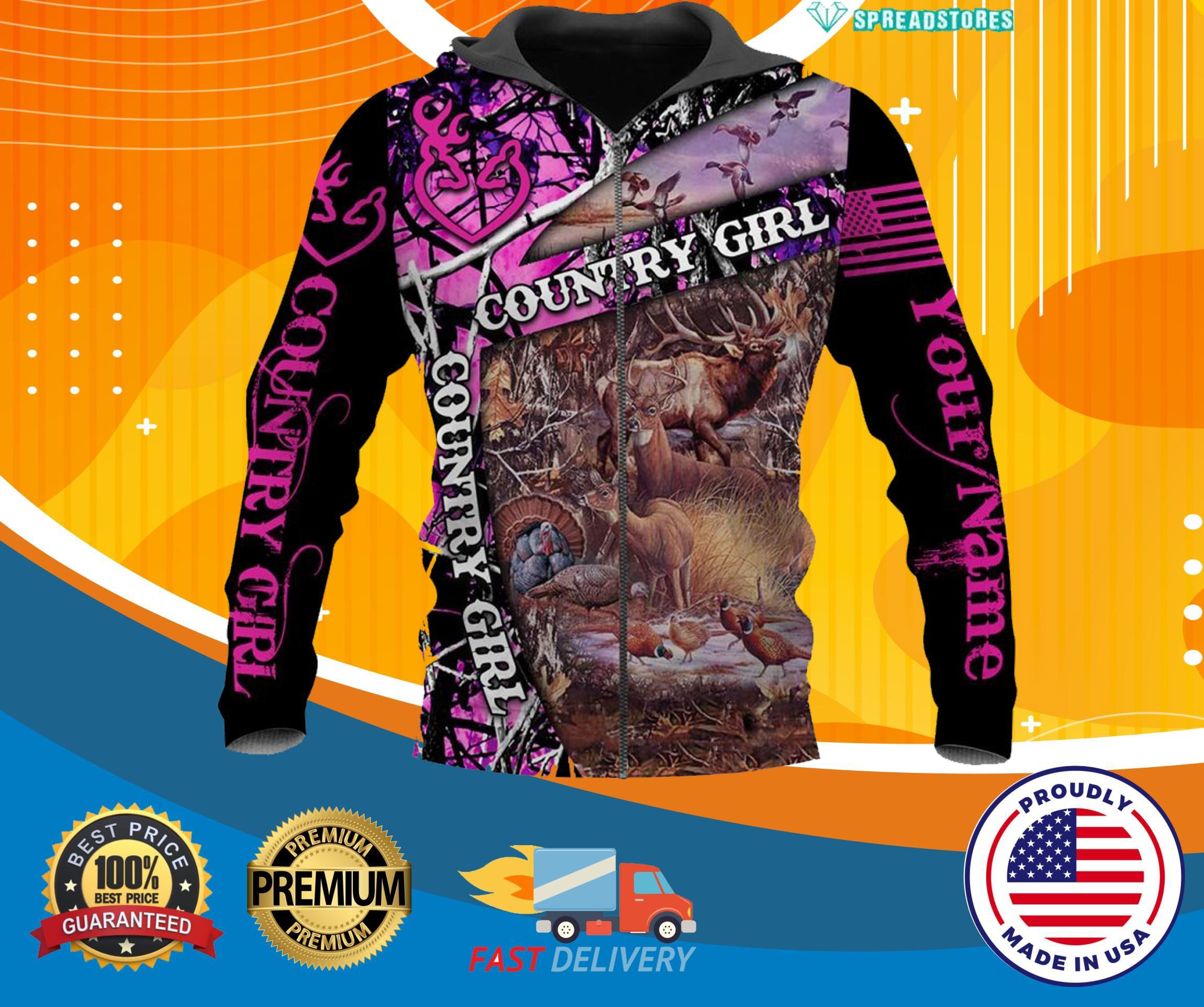 Hunting Country Girl Custom personalized Name 3d hot zip hoodie