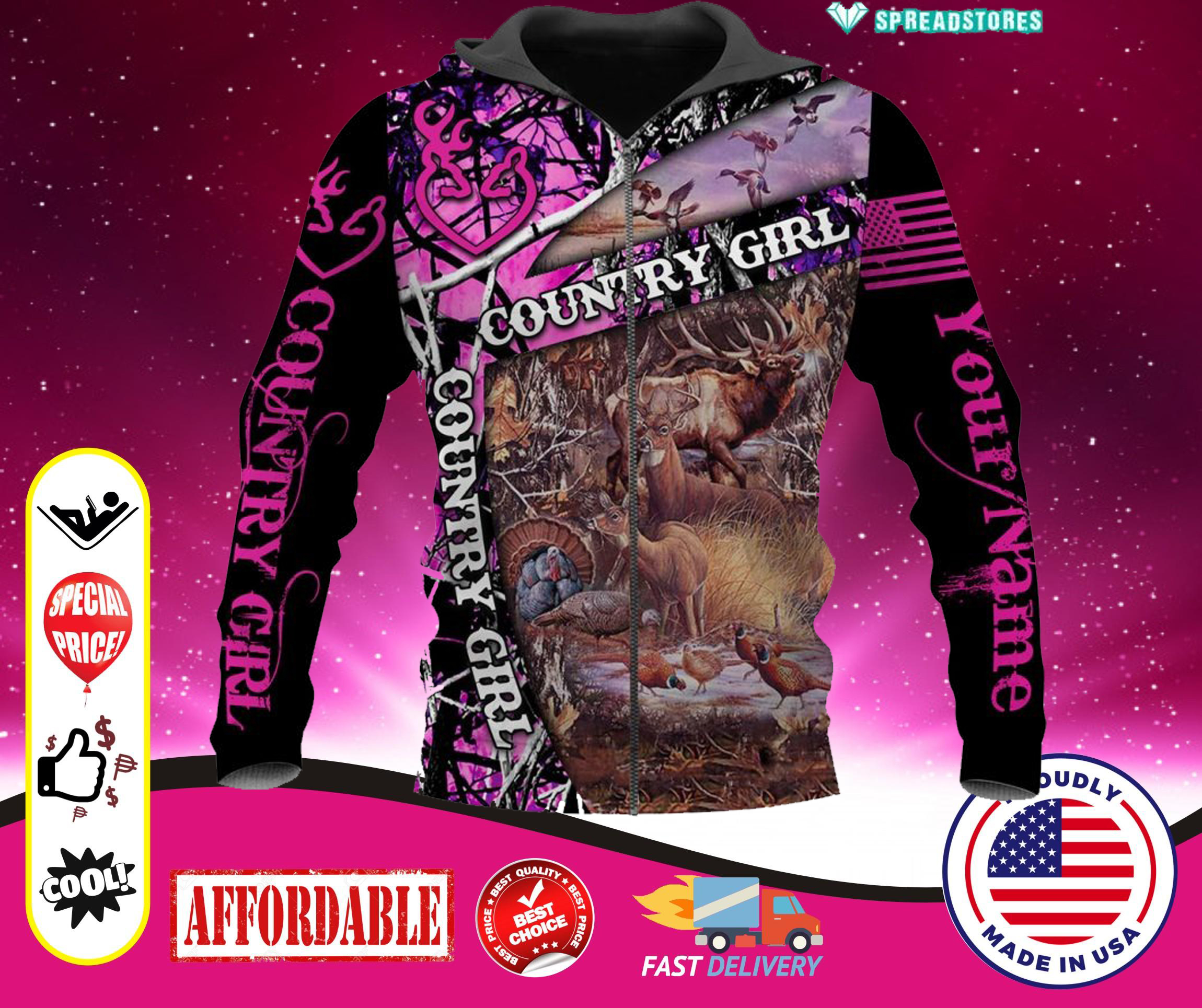 Hunting Country Girl Custom personalized Name 3d zip hoodie