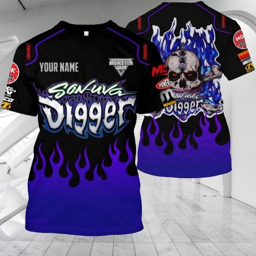 Monster Jam Son Uva Digger Custom name 3d hoodie and shirt