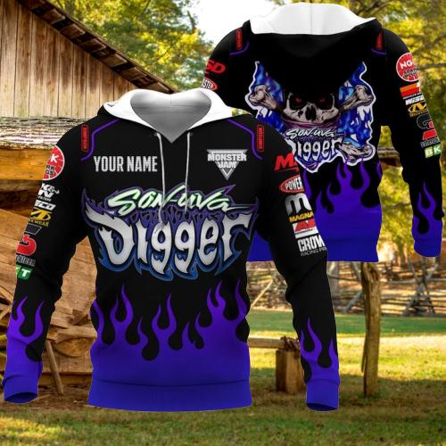Monster Jam Son Uva Digger Custom name 3d hoodie