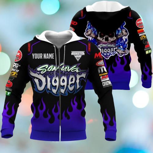 Monster Jam Son Uva Digger Custom name 3d zip hoodie