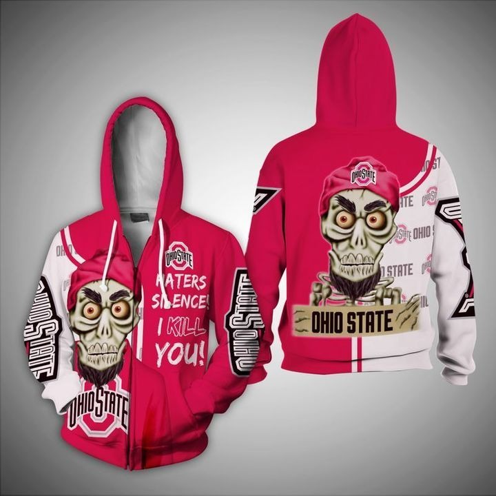 Skull Ohio State haters silence i kill you 3d zip hoodie