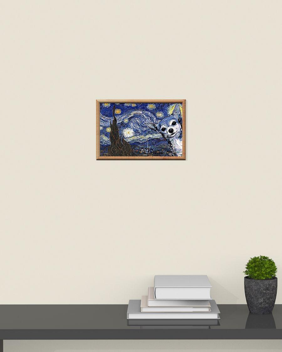 Chihuahua starry night van gogh poster