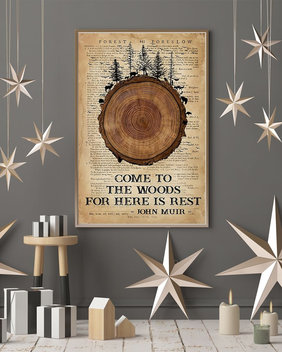 Come to the woods for here is rest John Muir poster