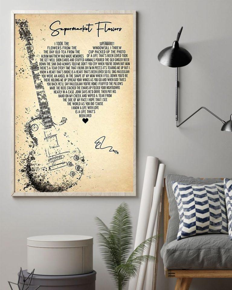 Guitar supermarket flowers lyrics poster