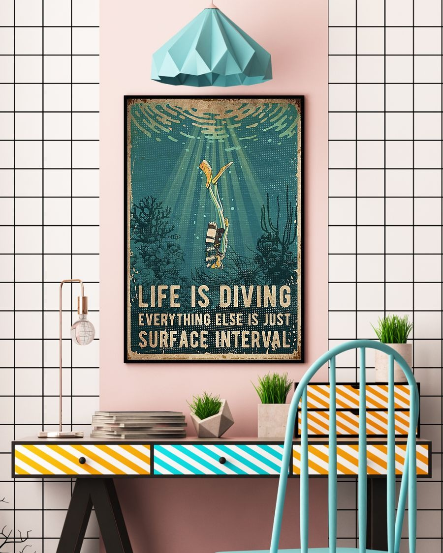 Scuba diving Life is diving everything else is just surface interval poster
