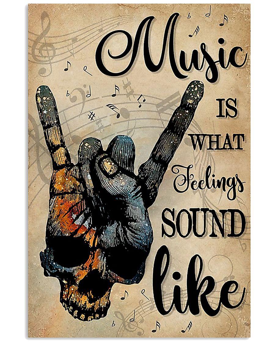 Skull rock hand Music is what feelings sound like poster