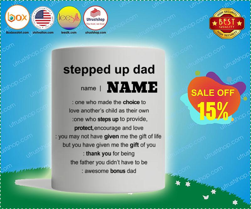Stepped up dad custom personalized name mug