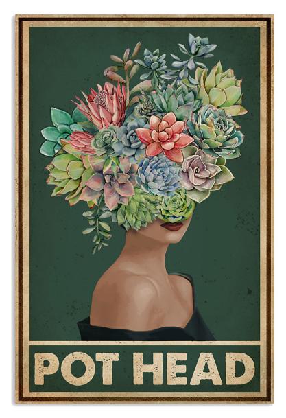 Succulent girl pot head poster