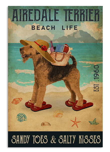 Airedale terrier beach life sandy toes and salty kisses poster
