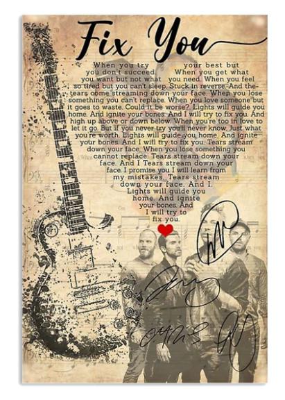 Coldplay Fix You lyrics poster