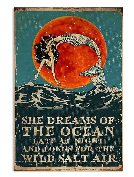 Mermaid she dreams of the ocean late at night salt air poster
