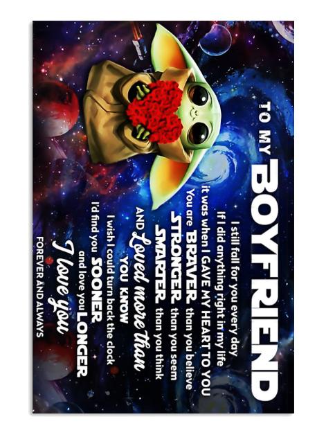 Baby Yoda to my boyfriend poster
