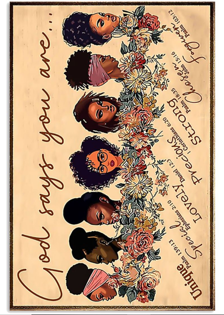 Black girl god says you are unique poster
