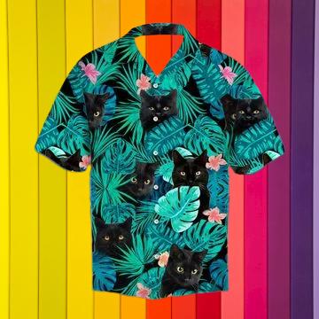 Black cat hawaiian shirt