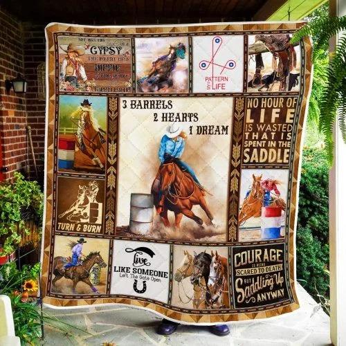 Barrels Racing 3 barrels 2 hearts 1 dream quilt blanket2