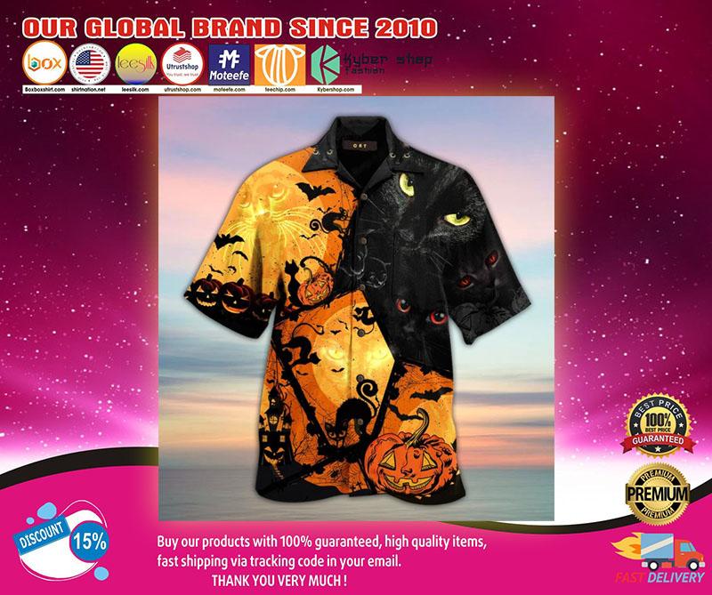 Black Cat Halloween Hawaiian Shirt1