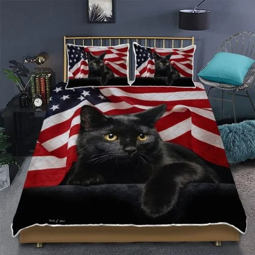 Black cat American flag quilt bedding set2