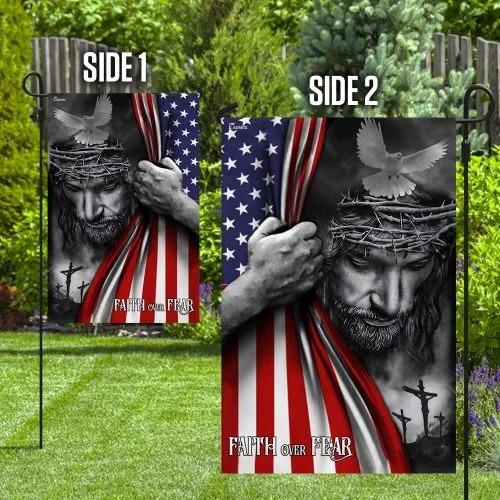 Faith over fear god Jesus American flag2