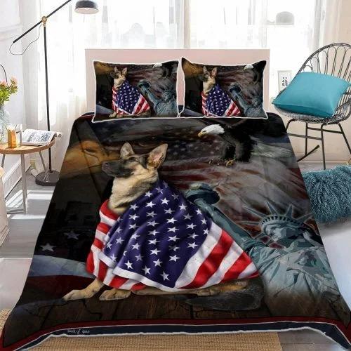 German Shepherd American Patriot Quilt Bedding set2