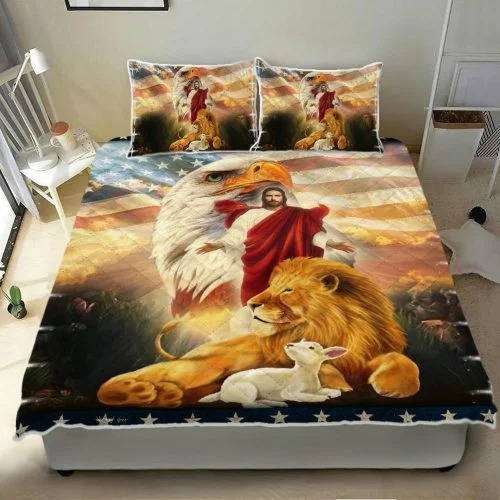 Lion and lamb eagle Jesus bedding set3