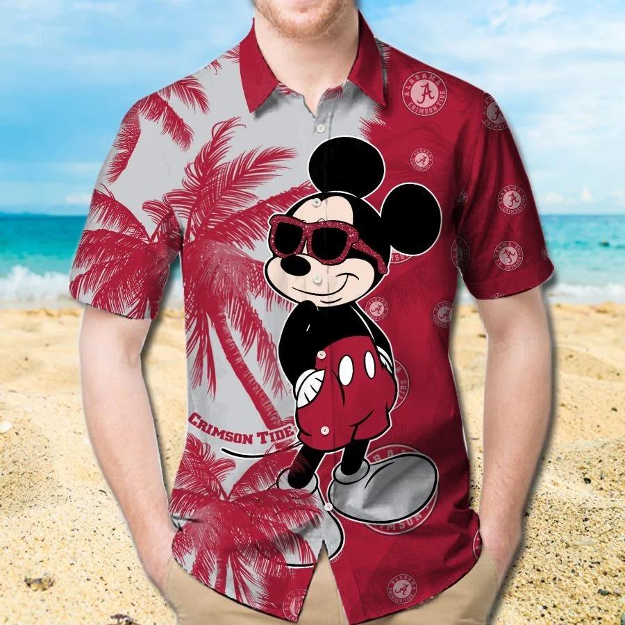 Mickey Mouse Alabama Crimson Tide hawaiian shirt and beach short 1