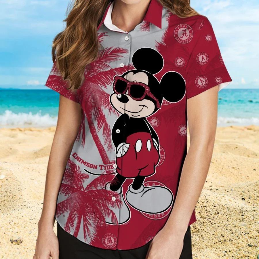 Mickey Mouse Alabama Crimson Tide hawaiian shirt and beach short 2