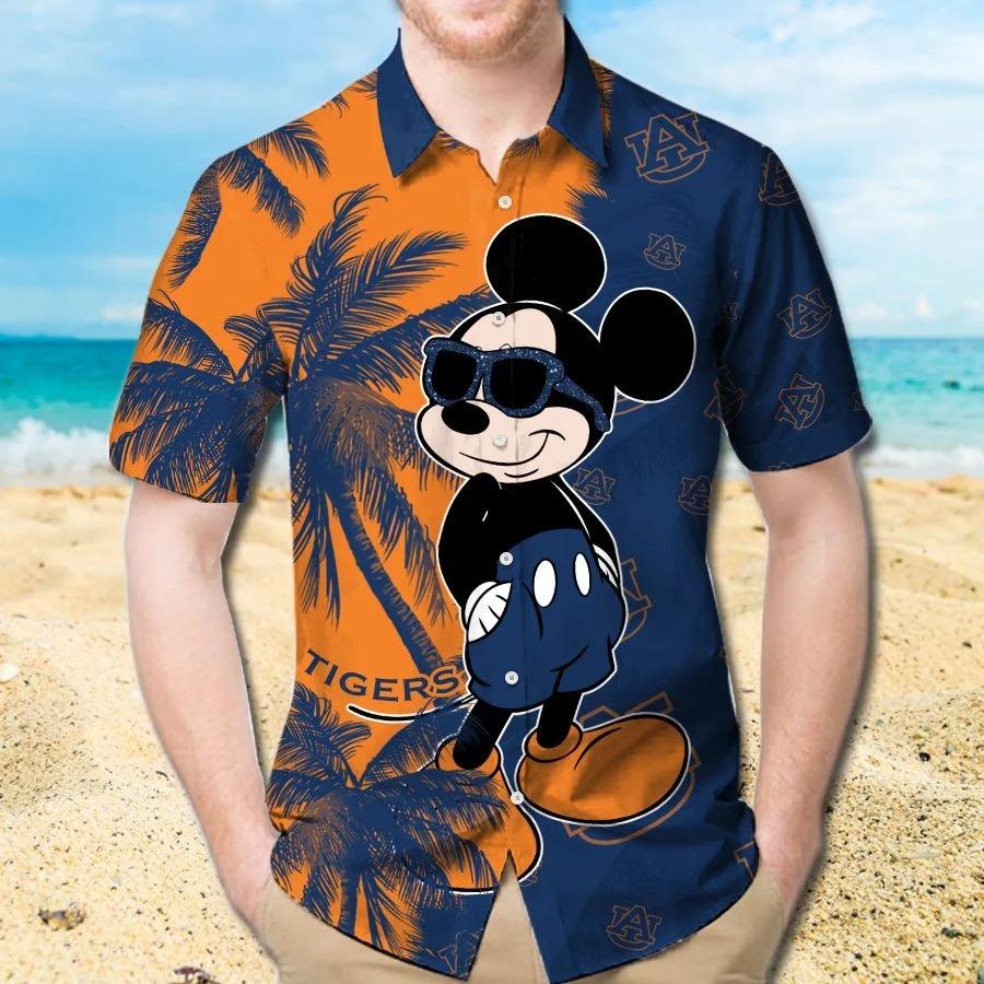 Mickey Mouse Auburn Tigers hawaiian shirt and beach short 1