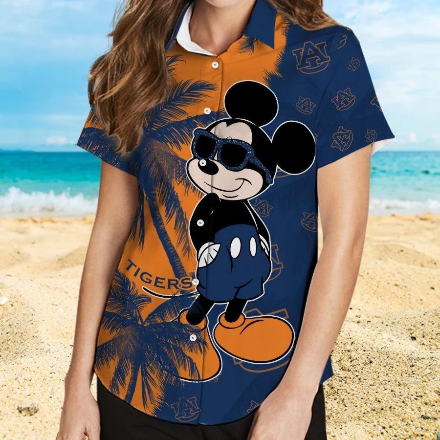 Mickey Mouse Auburn Tigers hawaiian shirt and beach short 2