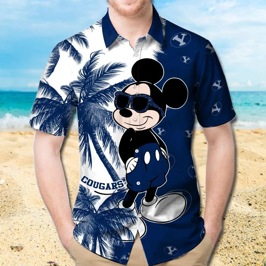 Mickey Mouse Byu Cougars hawaiian shirt and beach short 1