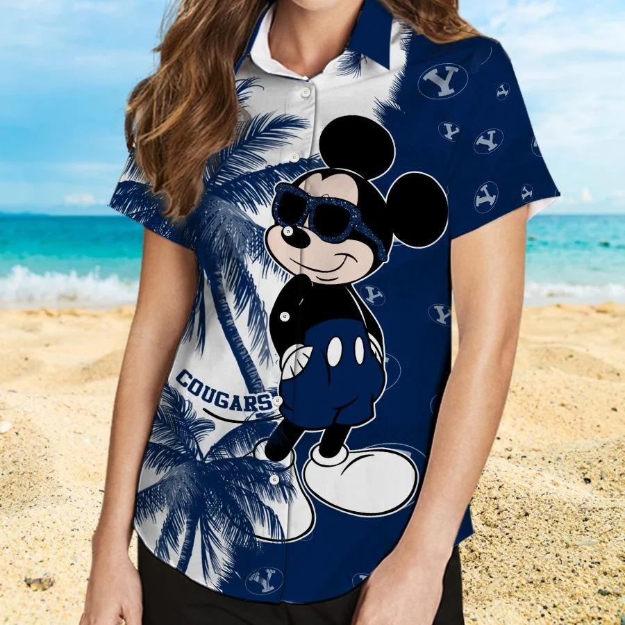 Mickey Mouse Byu Cougars hawaiian shirt and beach short 2