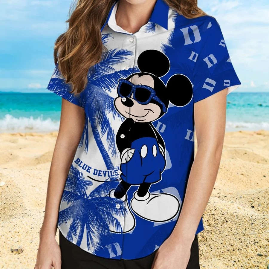 Mickey Mouse Duke Blue Devils hawaiian shirt and beach short 2