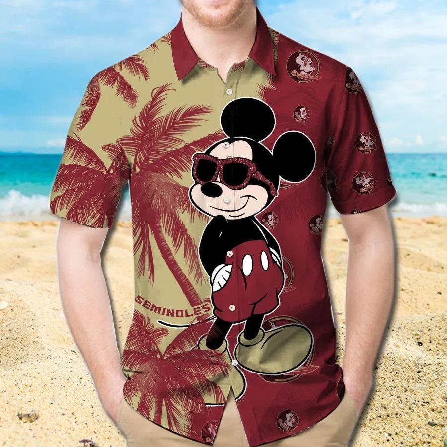 Mickey Mouse Florida State Seminoles hawaiian shirt and beach short 1