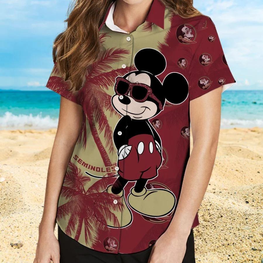 Mickey Mouse Florida State Seminoles hawaiian shirt and beach short 2