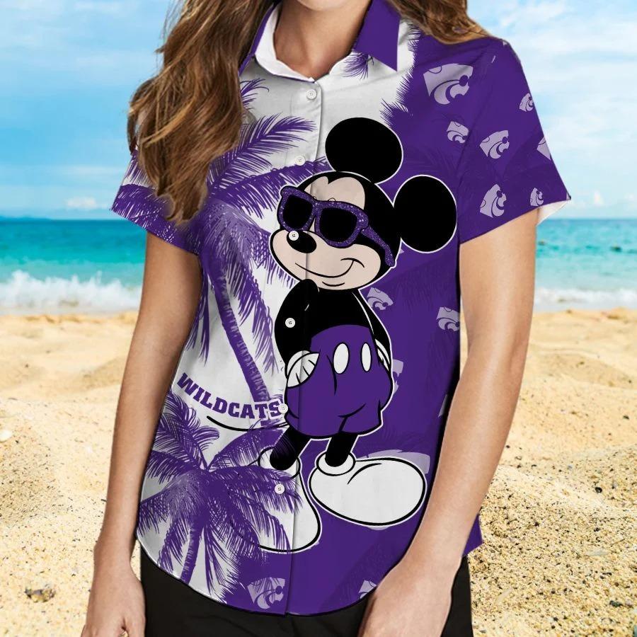 Mickey Mouse Kansas State Wildcats hawaiian shirt and beach short 2