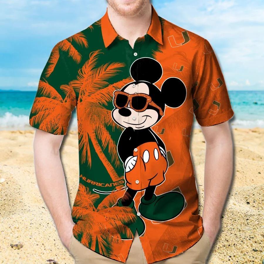 Mickey Mouse Miami Hurricanes hawaiian shirt and beach short 1