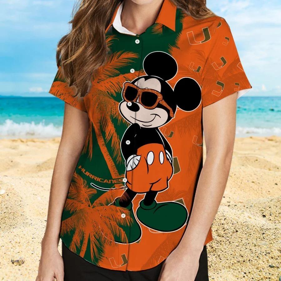 Mickey Mouse Miami Hurricanes hawaiian shirt and beach short 2