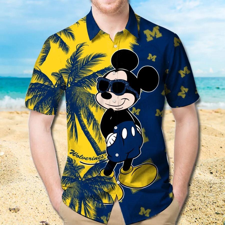 Mickey Mouse Michigan Wolverines hawaiian shirt and beach short 1