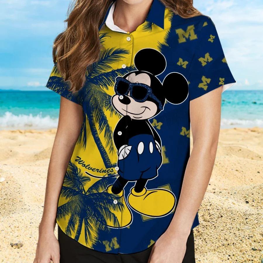 Mickey Mouse Michigan Wolverines hawaiian shirt and beach short 2