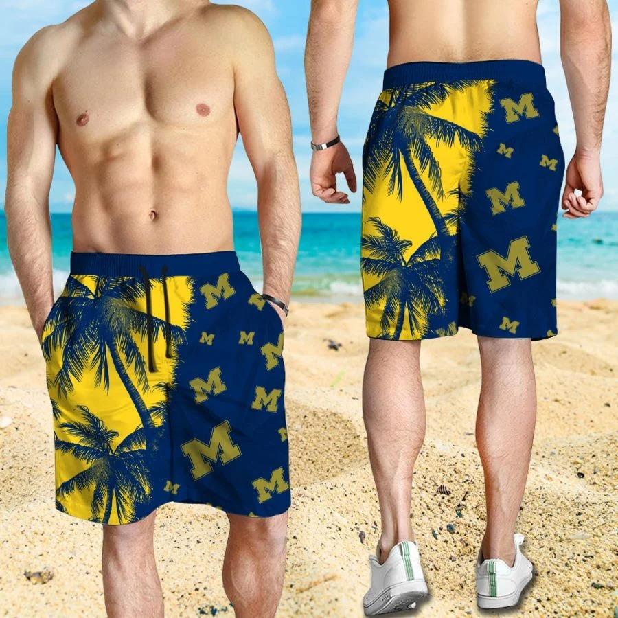 Mickey Mouse Michigan Wolverines hawaiian shirt and beach short 3