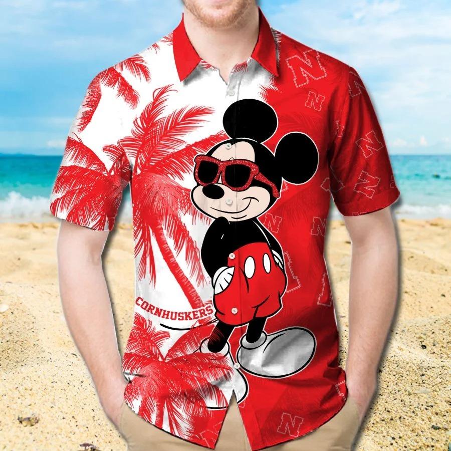Mickey Mouse Nebraska Cornhuskers hawaiian shirt and beach short 1
