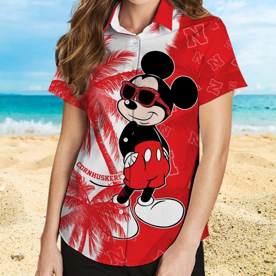Mickey Mouse Nebraska Cornhuskers hawaiian shirt and beach short 2