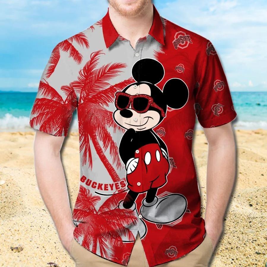 Mickey Mouse Ohio State Buckeyes hawaiian shirt and beach short 1