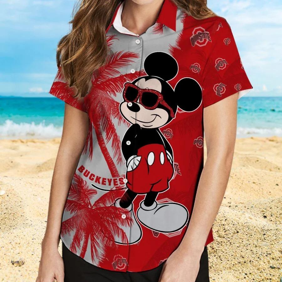 Mickey Mouse Ohio State Buckeyes hawaiian shirt and beach short 2