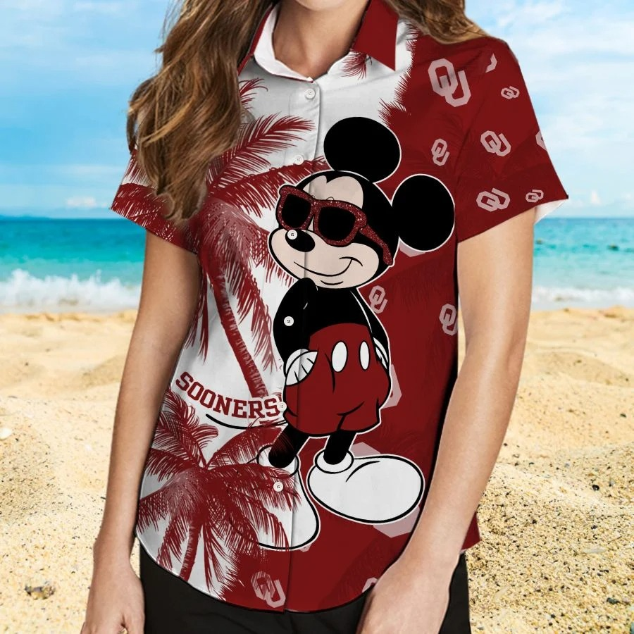 Mickey Mouse Oklahoma Sooners hawaiian shirt and beach short 2