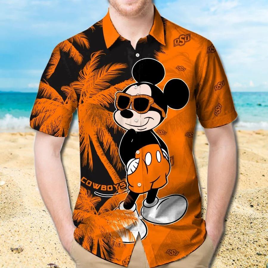 Mickey Mouse Oklahoma State Cowboys hawaiian shirt and beach short 1