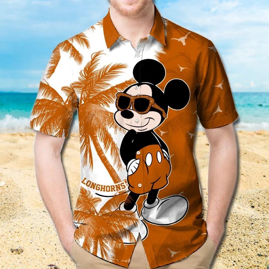 Mickey Mouse Texas Longhorns hawaiian shirt and beach short 1