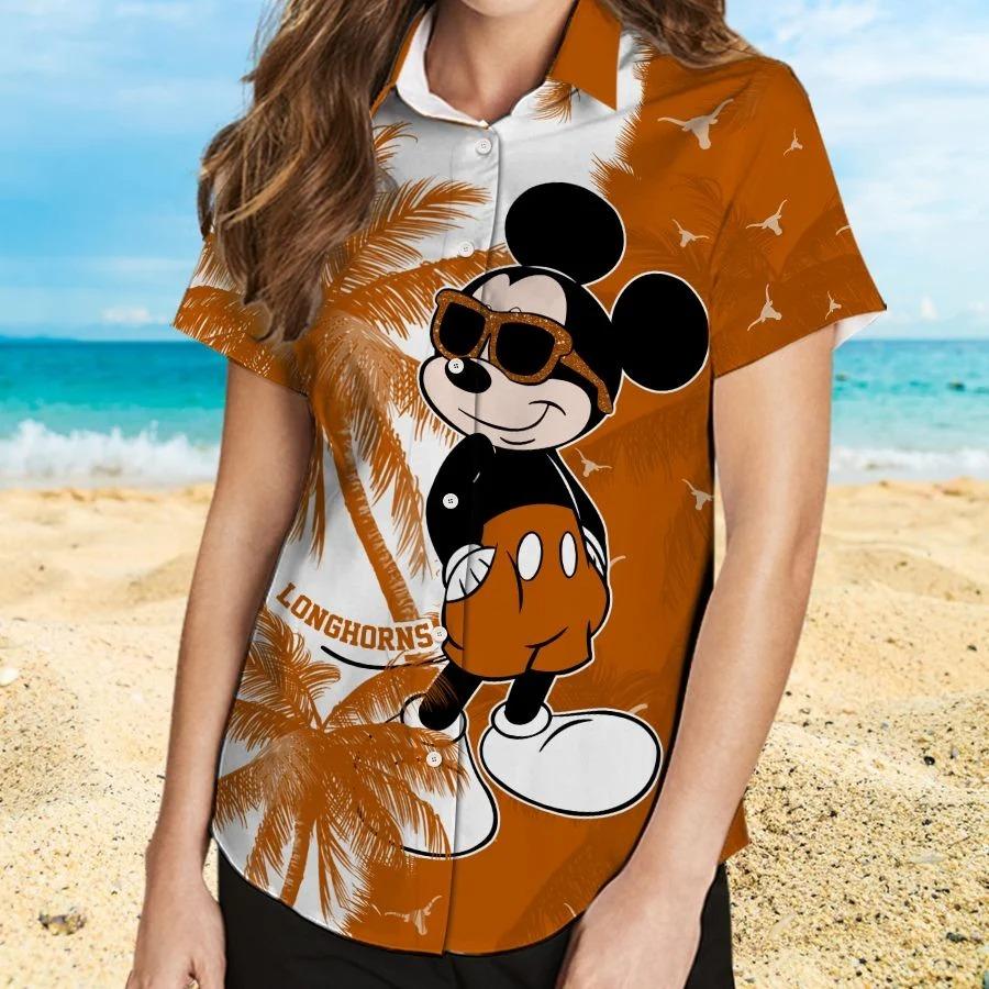 Mickey Mouse Texas Longhorns hawaiian shirt and beach short 2