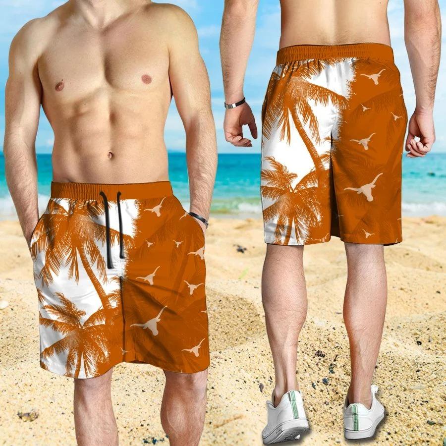 Mickey Mouse Texas Longhorns hawaiian shirt and beach short 3