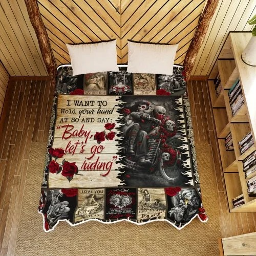Skull biker I want to hold your hand blanket2